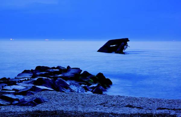 Photograph - Blue Twilight-sunken Ship by Tom Singleton