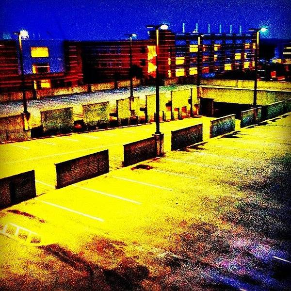 #blue #yellow#parkingdeck #night Art Print