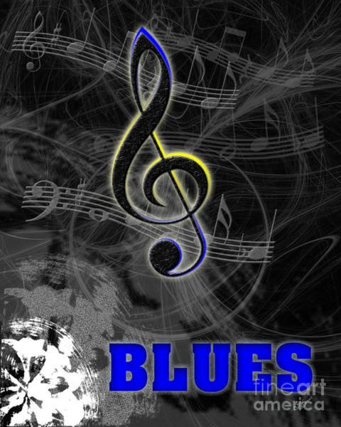 Yellow Trumpet Digital Art - Blues Music Poster by Linda Seacord