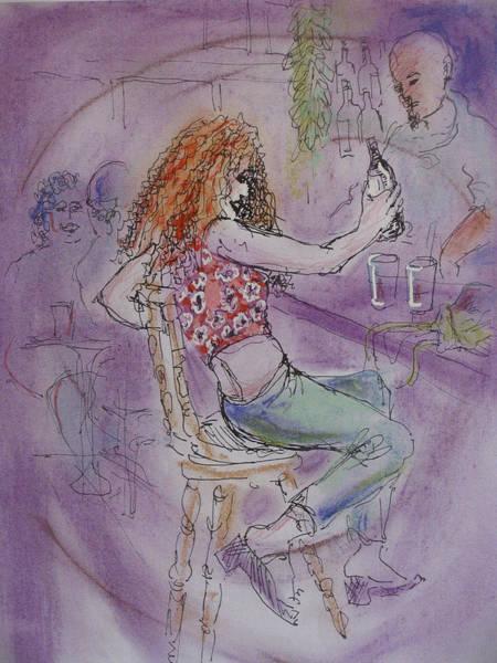 Drunk Mixed Media - Boardwalk Cafe Scene by Walter Clark