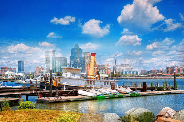 Tug Boat Photograph - Boat - Balitimore Md - Steam Tug Baltimore 1906  by Mike Savad