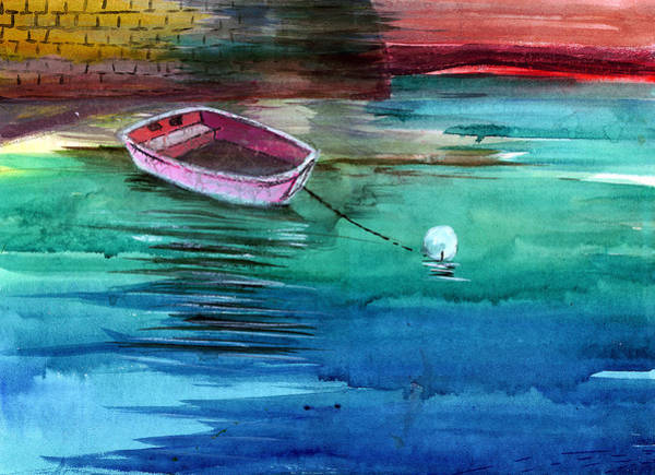 Painting - Boat And The Buoy by Anil Nene