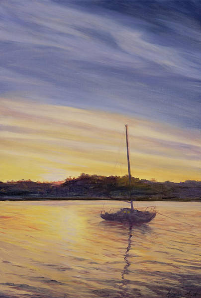 Moored Painting - Boat At Rest by Antonia Myatt