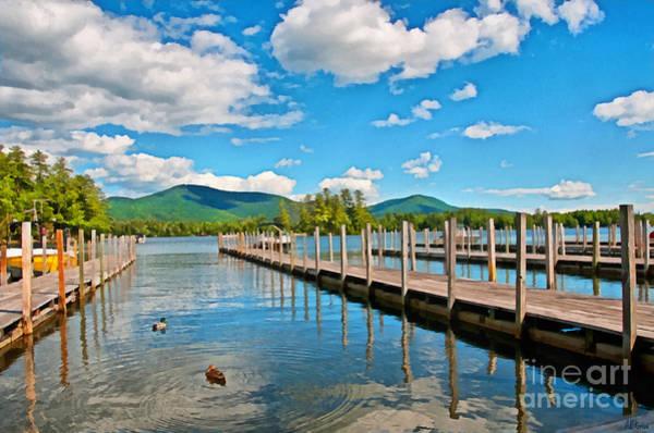 Adirondack Mountains Painting - Boat Docks Lake George New York by Anne Kitzman