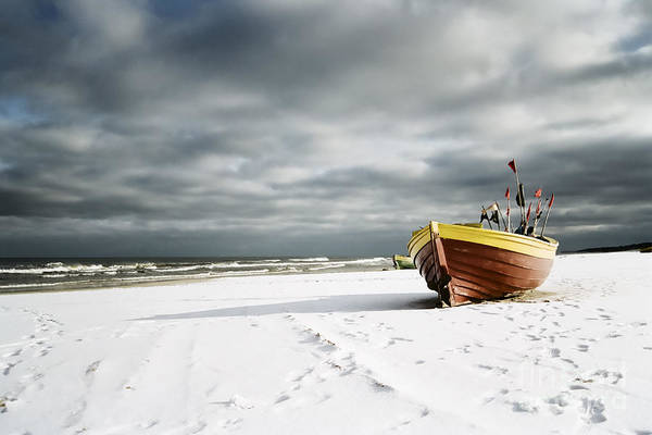 Photograph - Boat On Snowy Beach by Agnieszka Kubica