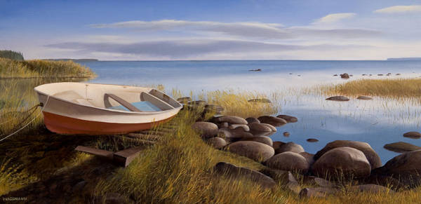 Painting - Boat Resting On Shoreline by Cliff Wassmann