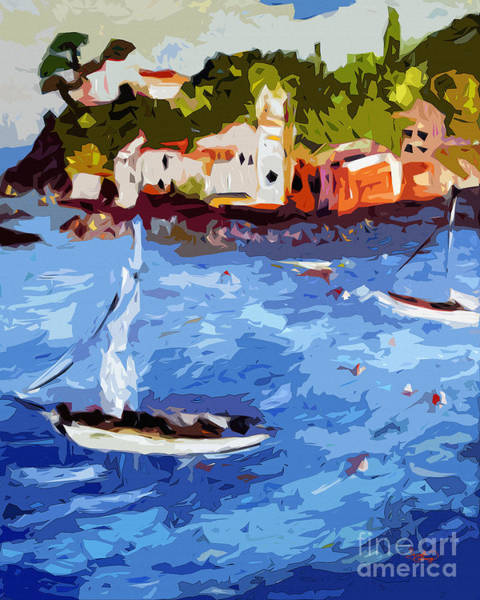 Levante Wall Art - Painting - Boating In Sestri Levante Italy by Ginette Callaway