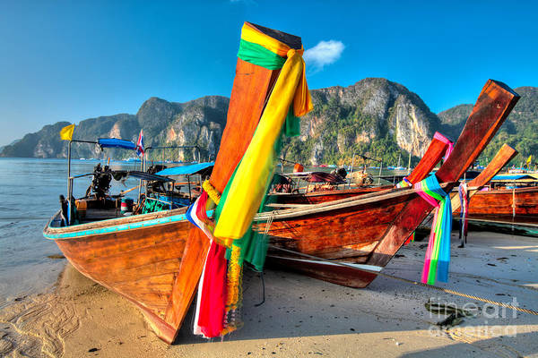 Phi Photograph - Boats At Phi Phi Island by MotHaiBaPhoto Prints