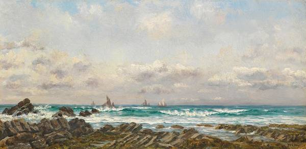 Wave Breaking Painting - Boats At Sea by William Lionel Wyllie