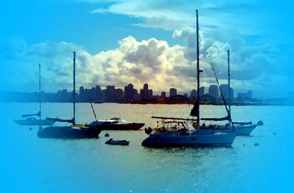 Digital Art - Boats In The Bay by Visual Artist Frank Bonilla