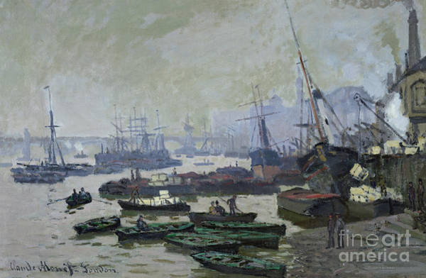 Pool Painting - Boats In The Pool Of London by Claude Monet