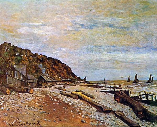 1864 Wall Art - Painting - Boatyard Near Honfleur by Claude Monet
