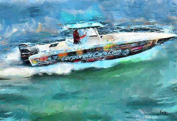 Speed Boat Digital Art - Bob And Boat by Yury Malkov