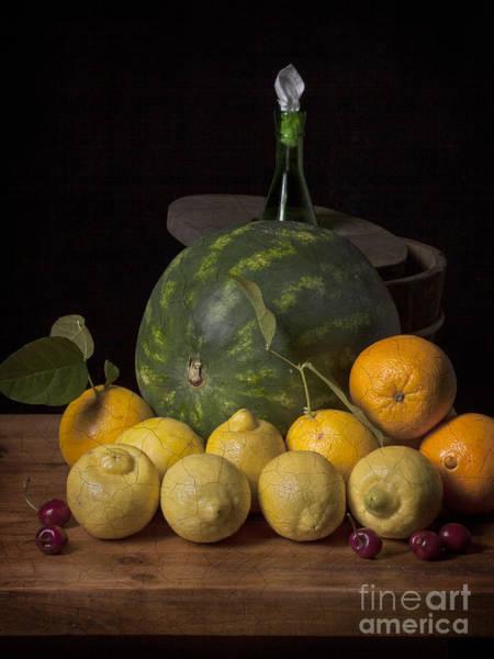 Bodegon - Watermelon-citrus And Cooler Art Print by Levin Rodriguez