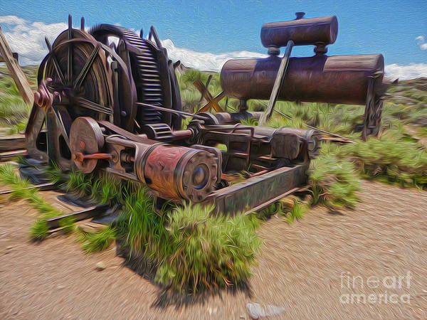 Painting - Bodie Ghost Town - Old Mining Equipment 04 by Gregory Dyer