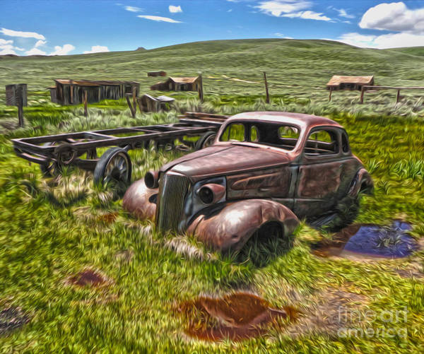 Painting - Bodie Ghost Town - Rusted Old Car 01 by Gregory Dyer