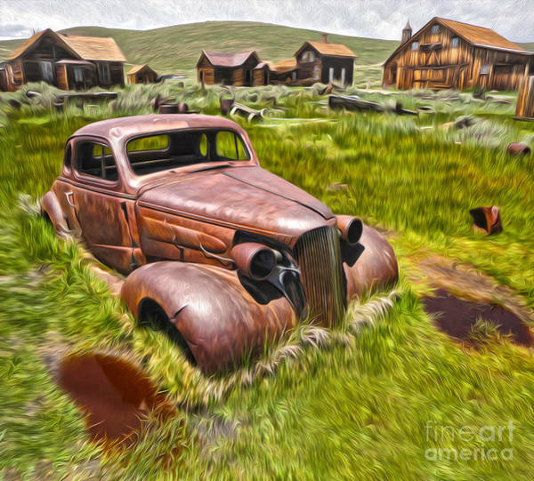Painting - Bodie Ghost Town - Rusted Old Car 02 by Gregory Dyer