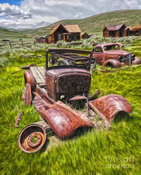 Painting - Bodie Ghost Town - Rusted Old Car 03 by Gregory Dyer