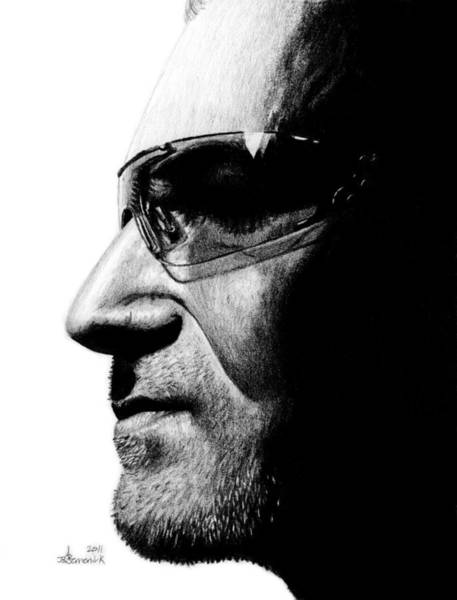Frontman Wall Art - Drawing - Bono - Half The Man by Kayleigh Semeniuk