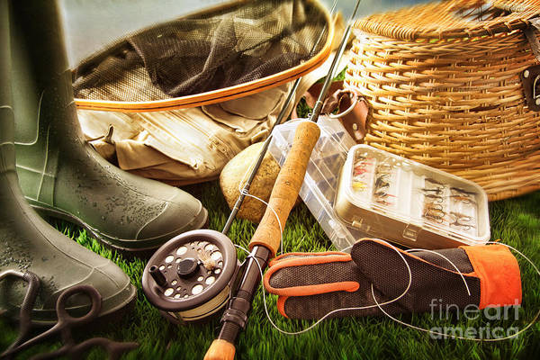 Wall Art - Photograph - Boots And Fly Fishing Equipment On Grass by Sandra Cunningham