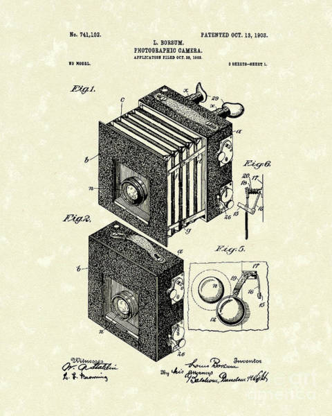 Drawing - Borsum Photographic Camera 1903 Patent Art by Prior Art Design