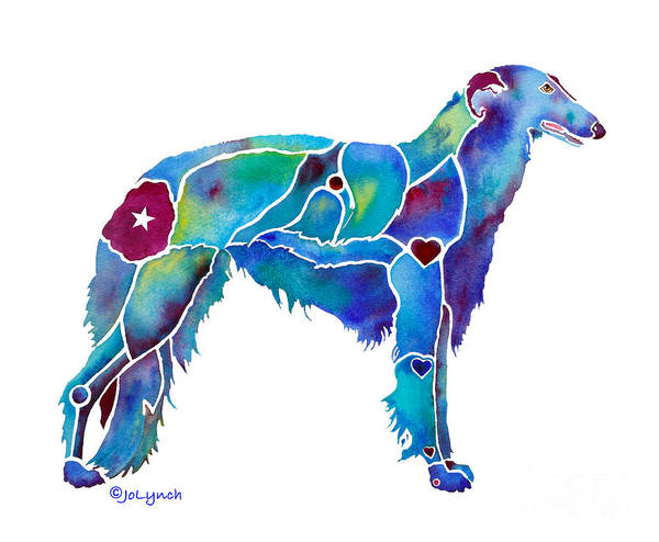 Painting - Borzoi In Blue by Jo Lynch