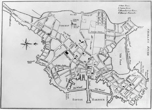 Photograph - Boston: Map, 1770 by Granger