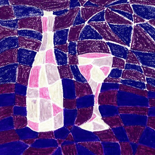 Checker Drawing - Bottle And Glass 3 by Hakon Soreide