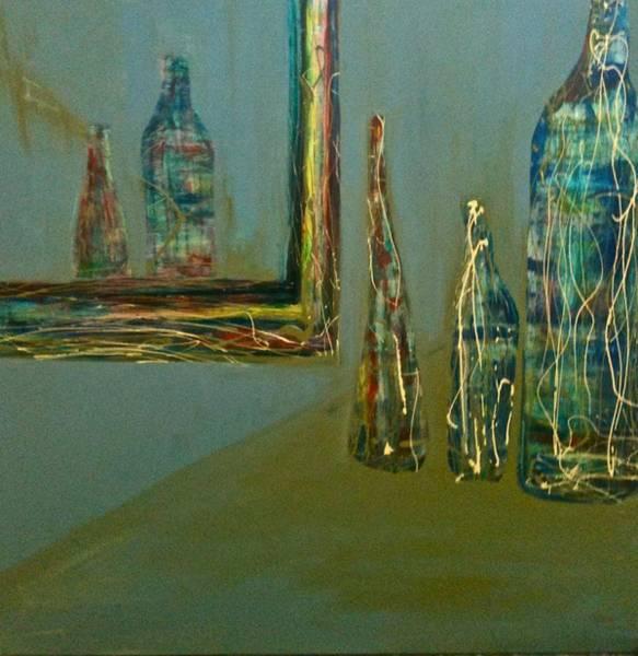 Bottles In Blue Art Print
