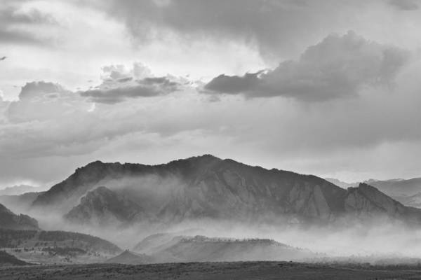 Photograph - Boulder Colorado Flatirons And The Flagstaff Fire Bw by James BO Insogna
