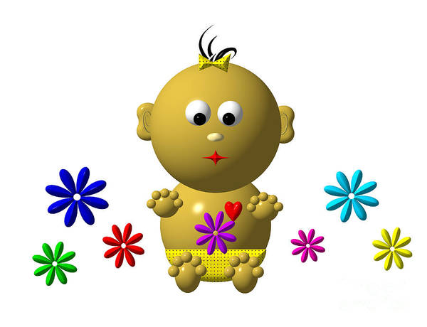 Digital Art - Bouncing Baby Girl With 7 Flowers by Rose Santuci-Sofranko