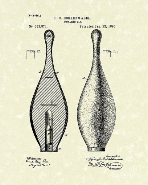 Wall Art - Drawing - Bowling Pin 1895 Patent Art by Prior Art Design