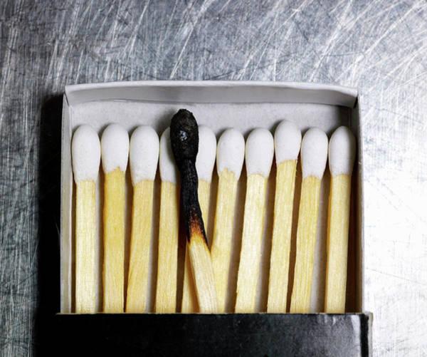 Wall Art - Photograph - Box Of Wooden Matches With One Burned Match. by Ballyscanlon