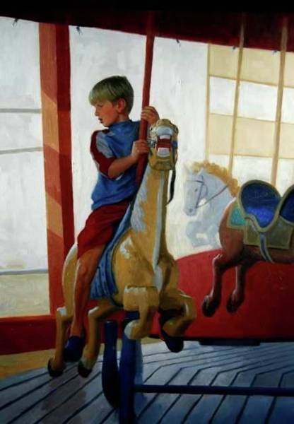 Painting - Boy On Carousel by Mel Greifinger