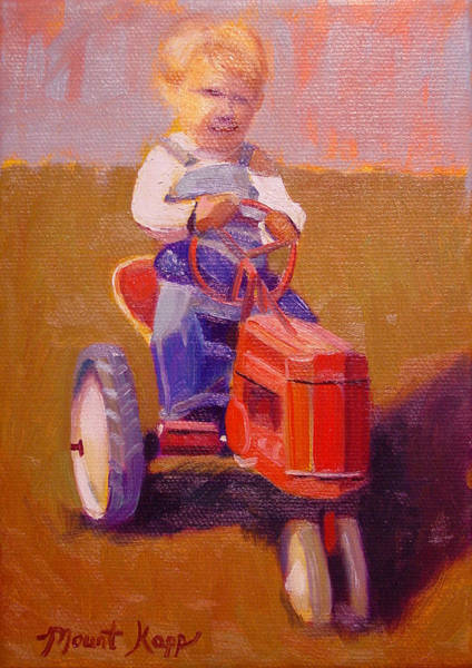 Vintage Tractor Painting - Boy On Tractor by The Vintage Painter