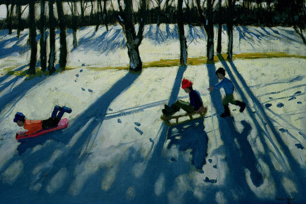 Long Shadow Painting - Boys Sledging by Andrew Macara