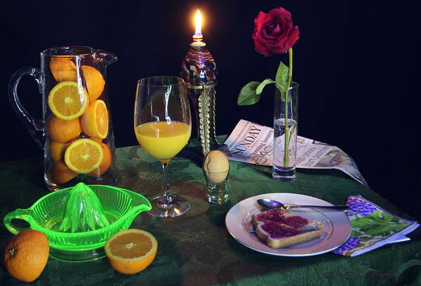 Blacklight Photograph - Breakfast With Orange Juice Toast And Egg by Frank Schmidt