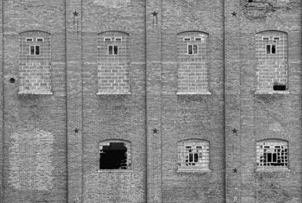 Photograph - Brick Wall Broken Windows Bw by James BO Insogna