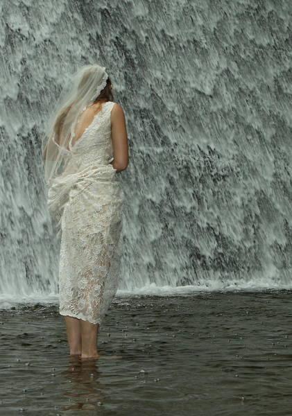 Photograph - Bride Below Dam by Daniel Reed