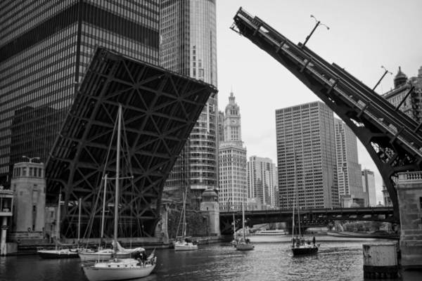 Photograph - Bridge Lifts Day In Chicago by Sven Brogren