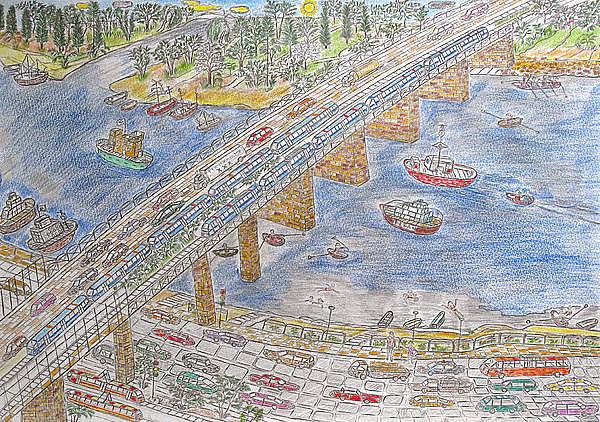 Ukraine Drawing - Bridge Over The Dnieper River by Yuriy Mkhitaryants