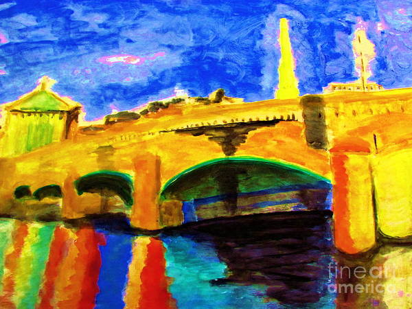 Painting - Bridge To Assemblee Nationale France by Stanley Morganstein