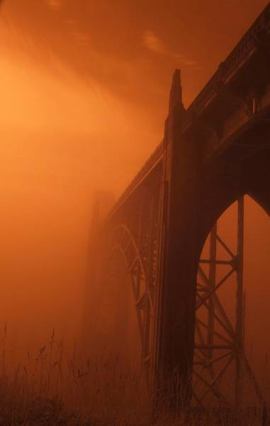 Photograph - Bridge To The Mist In Red by HW Kateley