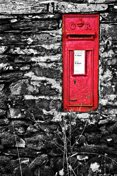 Stone Wall Wall Art - Photograph - British Red Post Box by Meirion Matthias