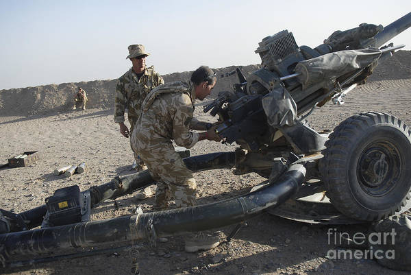 Royal Artillery Wall Art - Photograph - British Soldiers Test Fire A Howitzer by Andrew Chittock