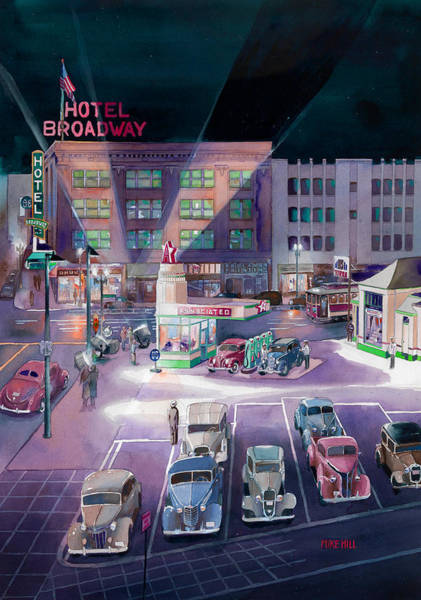 Portland Wall Art - Painting - Broadway And Burnside 1941 by Mike Hill