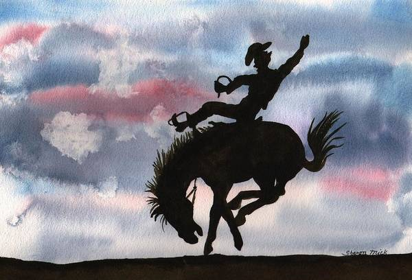 Thrilling Painting - Bronco Busting by Sharon Mick
