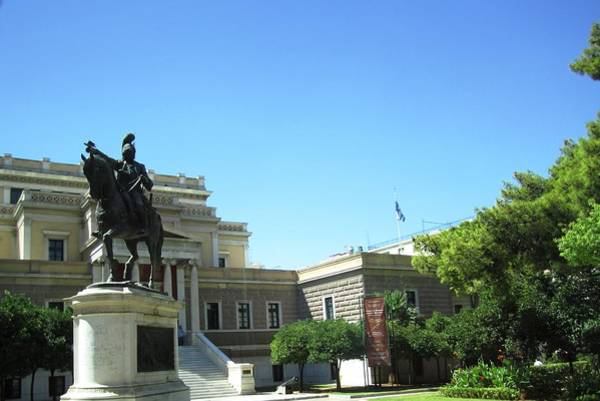 Photograph - Bronze Horse Rider Statue In Athens Greece by John Shiron