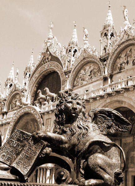 Photograph - Bronze Lion At St. Mark's by Donna Corless