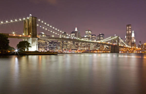 Photograph - Brooklyn Bridge At Night 1 by Val Black Russian Tourchin